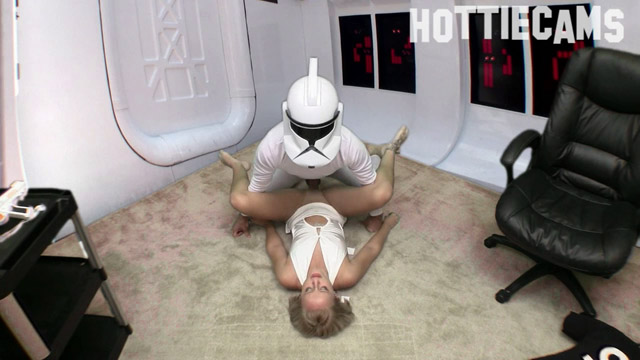The clone trooper was about to report Jenna when she assured him that she wasn't the right nympho he was looking for. He disagreed and shoved his rock hard cock down her throat.
