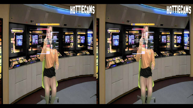 Ensign Jenna Suvari was minding her own business on the bridge filing incident reports with the new holographic scanner. Only problem?  No pants.  Yeah. Totally naked down there.