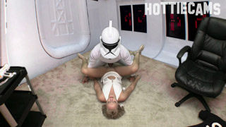 Inspired by George Lucas' Star Wars series, Jenna Suvari and Steve Awesome secretly boarded an Empire run hotel room ship and quickly ran out of ideas about things to do. When the topic of fucking and sucking came up they both felt it would be worth the time. May the force by within you. Always.